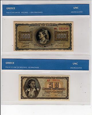 Greece  - Lot Of 4 Notes   --  Unc & Vf