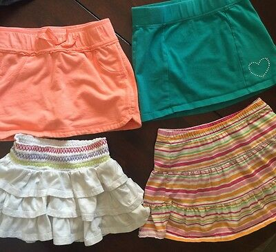 Girls Skirts-Green, Orange, White & Striped-Sized 6x, 7/8