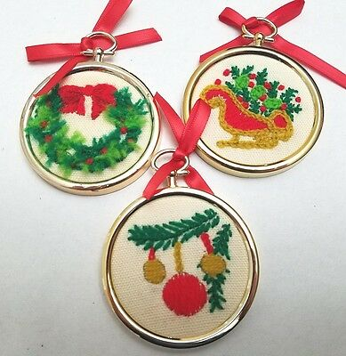 Embroidered Christmas Tree Ornaments Gold Framed Handmade Lot of 3