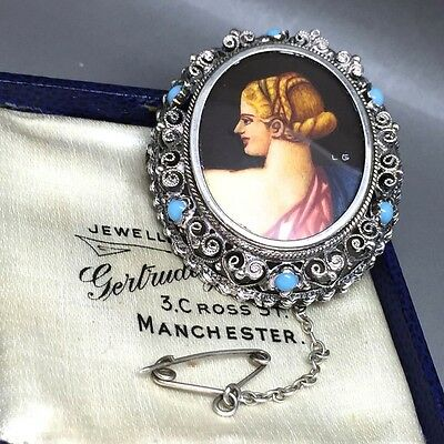 Vintage 800 Fine Silver Set Turquoise Hand Painted Portrait Frame Pin/Brooch