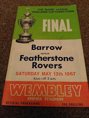 Rugby Leauge Final Barrow Vs Fetherstone Rovers 1967 Programme