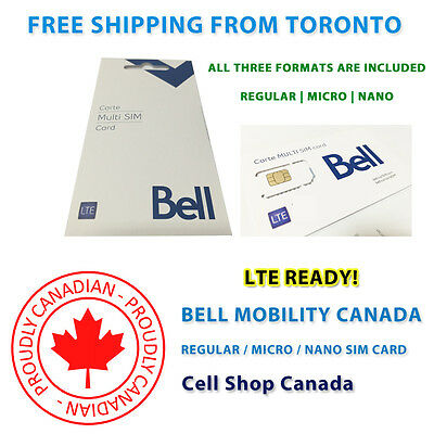 Bell Mobility SIM Card - NEW Multi Format SIM - FREE SHIPPING