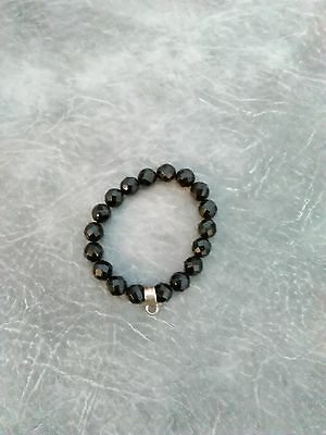 Black jet glass bracelet with a stamped 925 sterling silver link for pendant