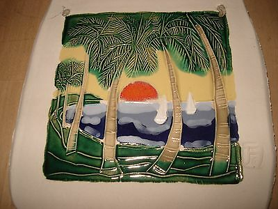 HAND MADE DECORATIVE POTTERY TILE from PUERTO RICO - Ready to Hang - Gorgeous!
