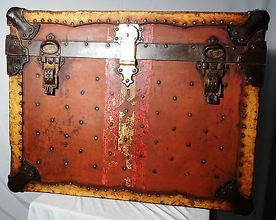 ANTIQUE TRUNK IRON STRAPPING VINTAGE THE LIKLY & ROCKETT TRUNK Co CLEVELAND USA