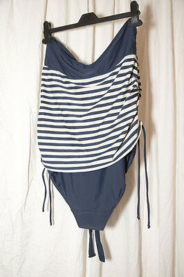 Navy Blue & Cream Stripe Next Maternity Swimsuit / Swimming Costume in Size 14