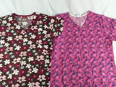 Lot of 2 Womens Scrub Tops Size S