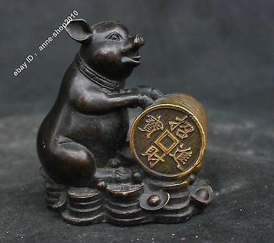 "4"" Chinese Old Antique Pure Bronze Lucky Coin Yuan Bao Zodiac Year Pig Sculpture"