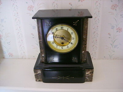 small smart Victorian marble French non-striking mantel / bedside table clock