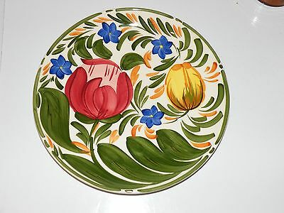 """Vintage retro handpainted Wade 9.5"""" plate-tulips-in great condition"""
