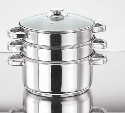 Stainless Steel Steamer Cooker Pot Set Glass Lids 3 Tier Pan 20/24/28/30 Cm