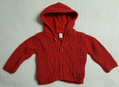 Next Red Chunky Cable Knit Red Hooded Cardigan/Jacket 9-12m
