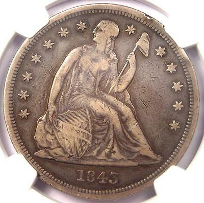 1843 Seated Liberty Silver Dollar $1 - NGC VF Details - Rare Certified Coin!