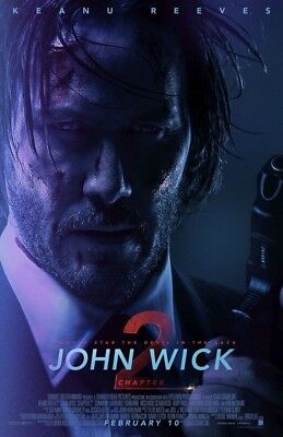 JOH WICK CHAPTER 2 MOVIE POSTER 2 Sided ORIGINAL VF 27x40 KEANU REEVES