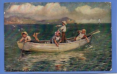 Old Vintage 1908 Postcard Children On Boat Line Fishing For Chad