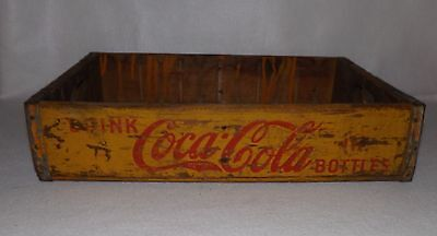 Vintage Yellow & Red Coca Cola Coke Wooden Soda Bottle Crate Carrier Box