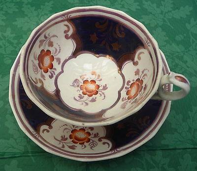 unusual antique Gaudy Welsh cup & saucer c1850 quality item dresser display