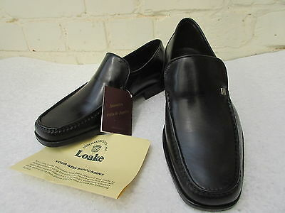 Loake Mens Black Penny Loafers Size 7 Eee Wide Fit Vgc