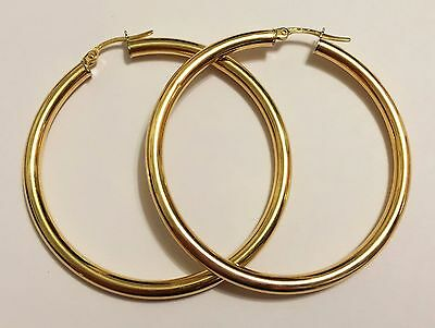 "18k yellow gold(1.75""inch) thick hoop earrings(3mm/4mm)"