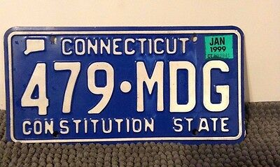 "White on Blue Connecticut License Plate ""Constitution State"" 1999"