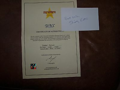 007 Bond Girl Shirley Eaton GOLDFINGER Autograph index card & certificate