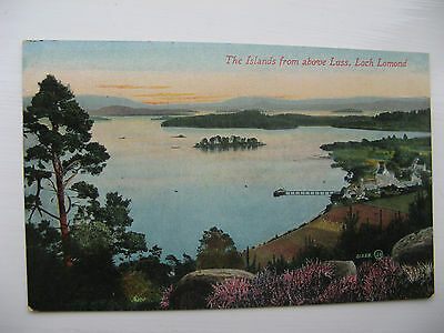 THE ISLANDS from above LUSS, LOCH LOMOND - unposted card from early 1900's