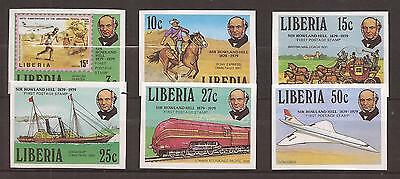 LIBERIA  -  COMPLET SET  -  SIR ROWLAND HILL  imperforated stamps