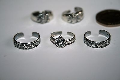 FIVE TOE RINGS - MARKED 925 - 81b