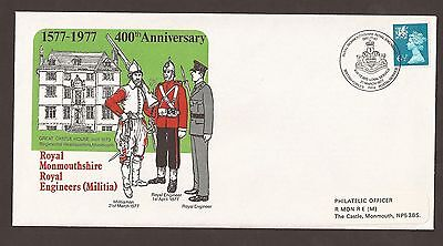 GB fdc 1977 Monmouthshire Royal Engineers 400th Anniv. BFPS Cover