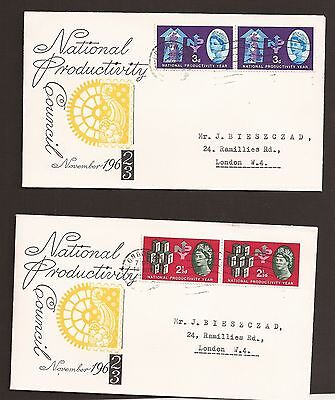 GB 1962 National Productivity Year 2 1/2d & 3d first day covers