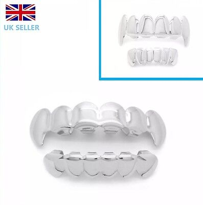 Silver Vampire Fang Grillz  Plated Teeth Mouth Grills Top Bottom Bling Hip Hop