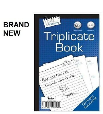 Full Size Triplicate Duplicate Receipt Book Numbered 1-50 Pad Carbon Invoice new