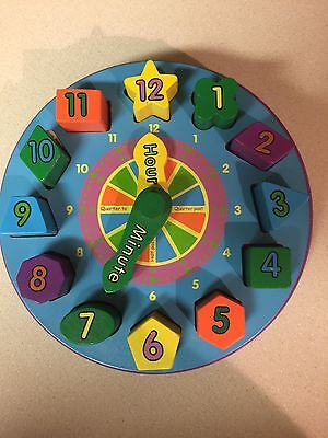 Clock Wooden Toy Teaching Shape Sorting Learning Educational Home Schooling Play