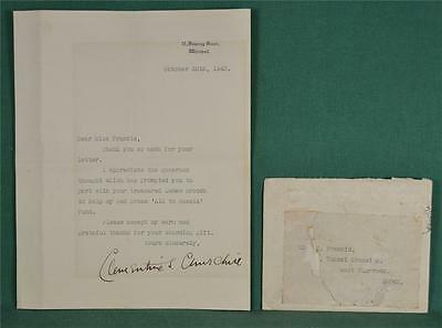 Autographed Letter And Envelope Clementine Churchill From 10 Downing Street