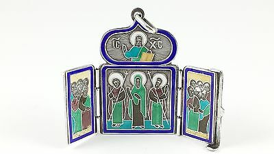 Antique Imperial Russian Solid Silver & Enamel Travel Icon Triptych