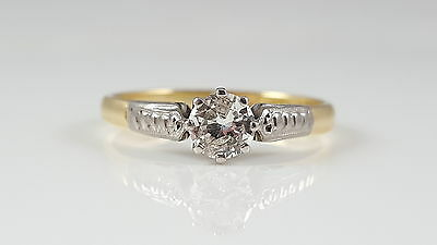 Vintage 18Ct 18Kt Yellow Gold 0.32Ct Diamond Solitaire Ring C1940
