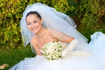 Elegant 2 Tier White 2T Pearls Sheer Pencil Trim Cathedral Wedding Veil Comb W4