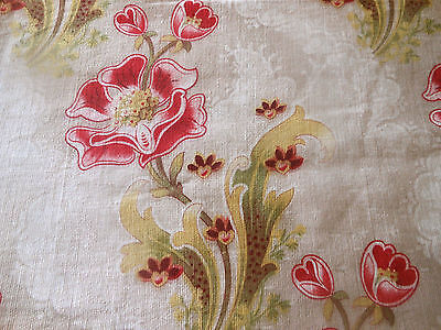 Antique French Art Nouveau Poppy Floral Cotton Fabric ~ Red Green Yellow Gold