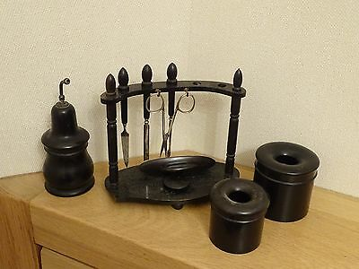Collectable vintage wooden Ebony manicure + dressing table bits