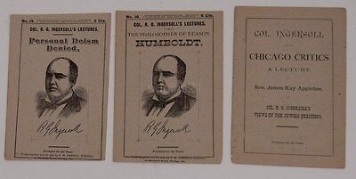 3 1880s INGERSOLL LECTURES Personal Deism Philosopher of Reason JEWISH Questions