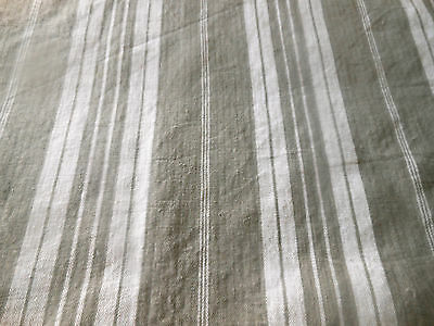 Antique French Rustic Farmhouse Gray Linen Ticking Fabric ~