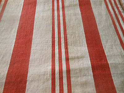 Antique French Rustic Farmhouse  Ticking Fabric ~  Old Red Tan Beige