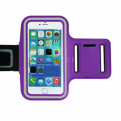 Purple Sport Gym Running Pouch Bag Case Cover Armband For iPhone Samsung Sony LG