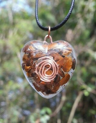 "Tiger Eye Healing Heart Orgonite / Orgone  Pendant With 18"" L Black Cord."