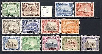 Aden,  King George mnh vf  definitive set except the 3/4 value is lh   96.00