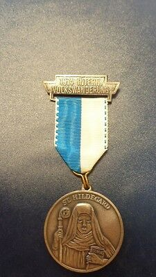 Saint Hildegard 1974 medal with ribbon and clip