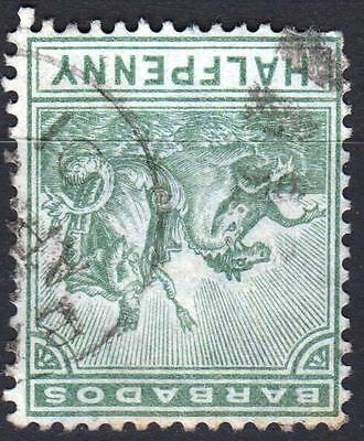 Barbados, 1892 issue, SG 106W, 1/2d Dull Green, WMK INVERTED, used, Cat £120