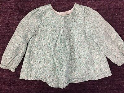 EUC BABY GAP Girl Green Pink Floral Print Long Sleeve Swing Top Shirt 6 12 9 mo