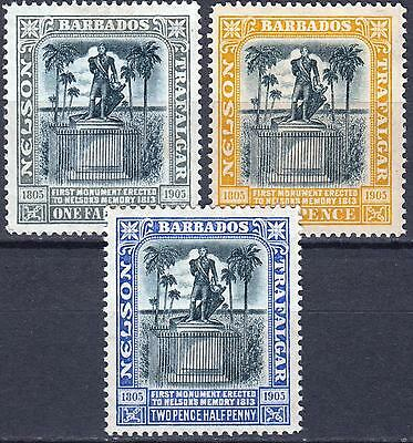 Barbados 1907 Nelson, SG 158 - 162, Wmk Multiple Crown, Mint Hinged, Cat £40