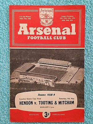 1959 - LONDON SENIOR CUP FINAL PROGRAMME - HENDON v TOOTING & MITCHAM